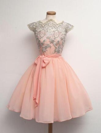 dress pink lace vintage prom 50s style pastel pink embroidered jewels