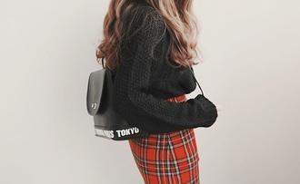 bag black white purse
