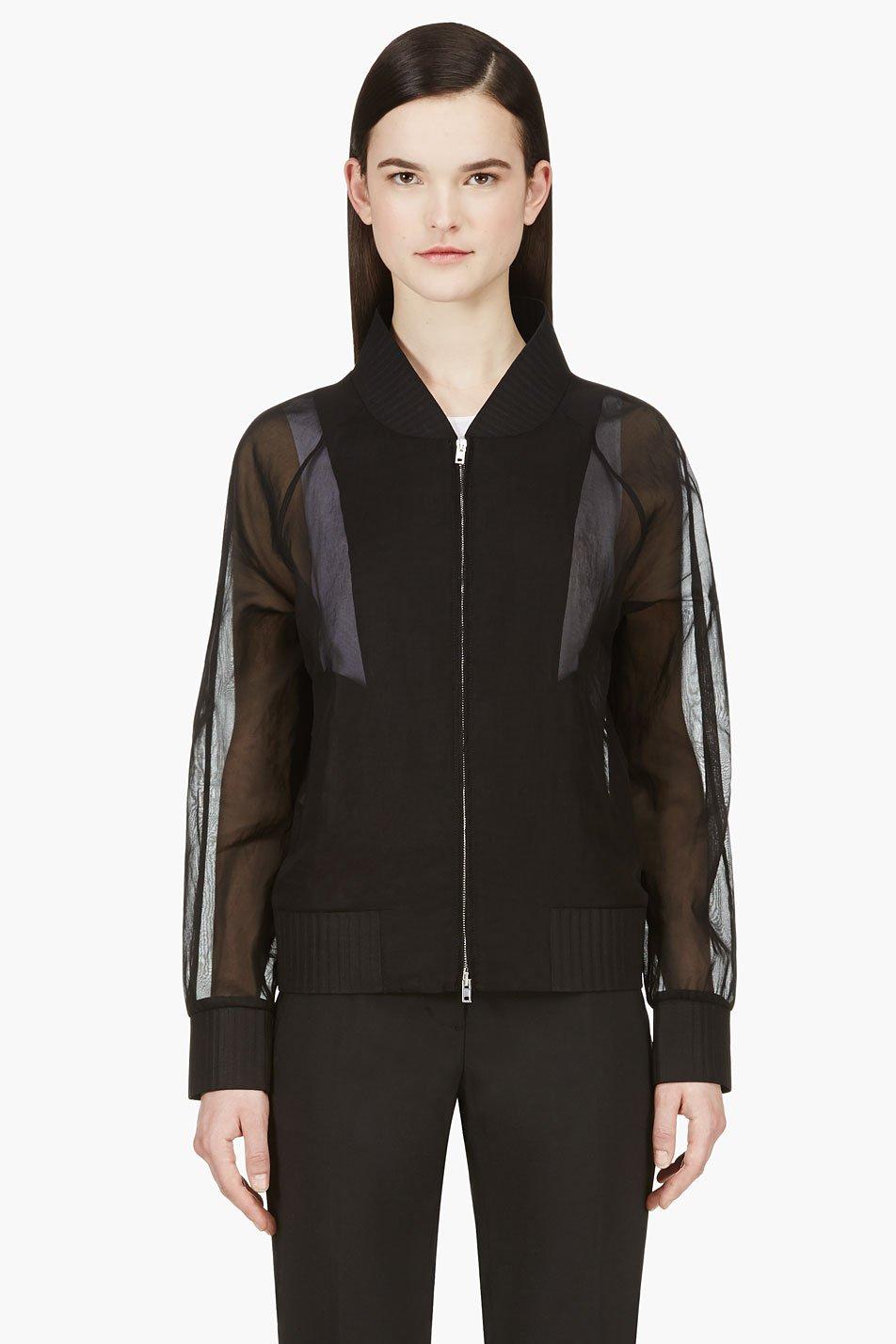 maison martin margiela black sheer bomber jacket