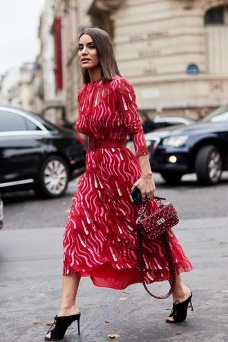 dress midi dress printed dress pink dress shoes mules bag belt long sleeves long sleeve dress heels