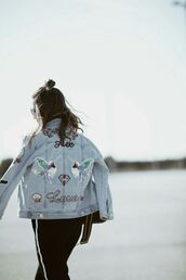 jacket,tumblr,patched denim,patch,denim jacket,blue jacket,pants,black pants,love,birds,embellished denim,hairstyles,shell