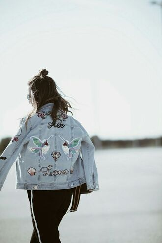 jacket tumblr patched denim patch denim jacket blue jacket pants black pants love birds embellished denim hairstyles shell