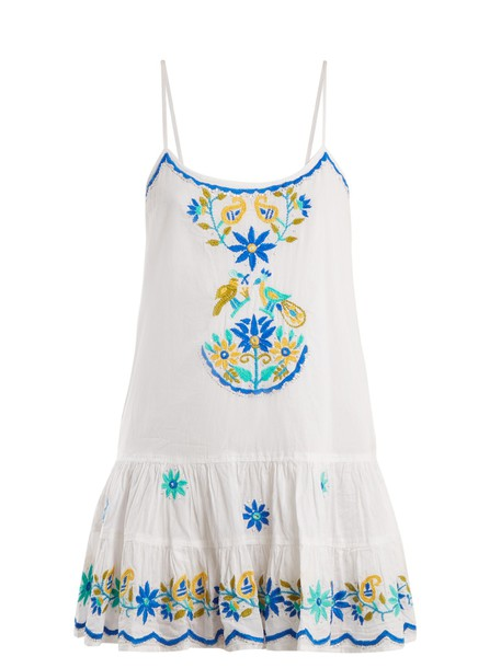 Juliet Dunn dress embroidered floral cotton white