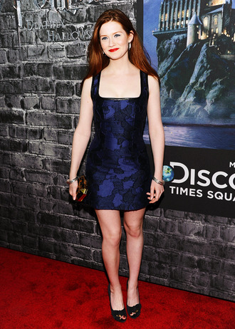 dress blue black bonnie wright actress celebrity