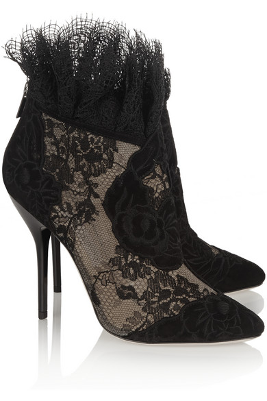 Kamaris suede and lace ankle boots
