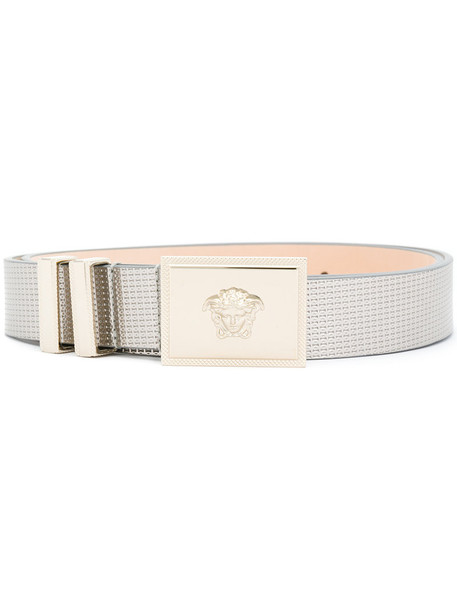 Versace - metallic (Grey) Medusa belt - women - Leather - 80, Leather
