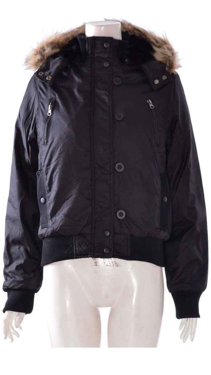 Womens waterproof hooded button zip winter jacket coat black 8,10,12,14,16