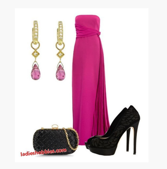 dress bag maxi dress clothes prom dress long dress fuchsia dress empire waist sleeveless dress gathered side ruched gathered bust earrings purse clutch shoes high heels peep toe heels lacy heels black lacy heels lacy pumps outfit