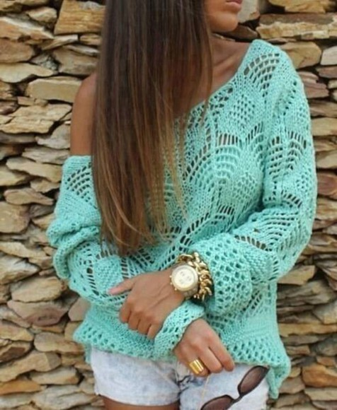 sweater turquoise mint colors