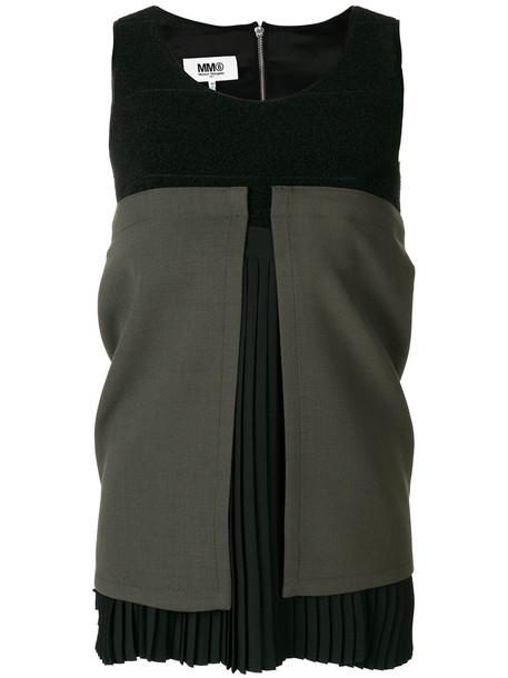 Mm6 Maison Margiela top pleated women spandex black wool