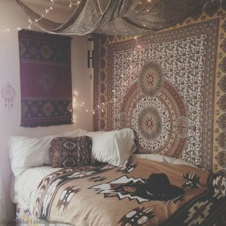 home accessory bedding boho bohemian hippie indie hipster aztec tribal pattern quilt cushion tapestry