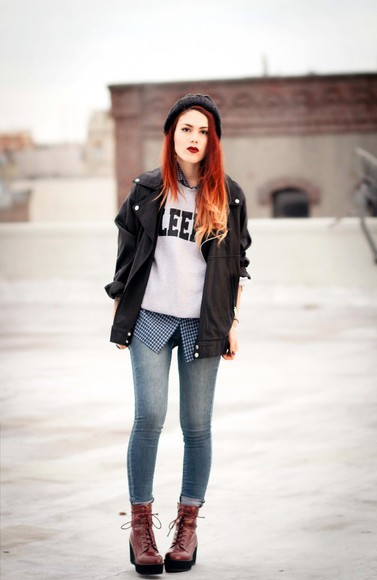 jacket wedges sunglasses blogger le happy jeans sweater