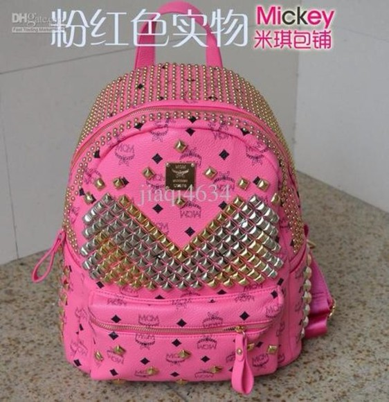 pink studs bag gold sequins