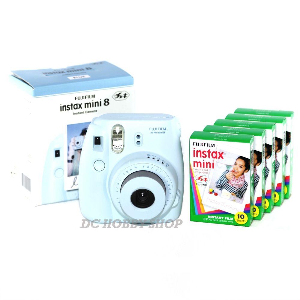 instax mini 8 blue Fujifilm instant Polaroid camera 50 film