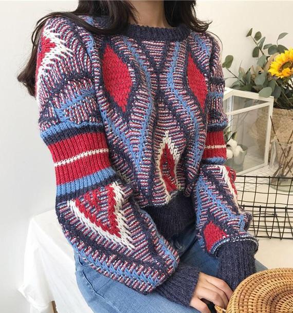 sweater girly sweatshirt jumper knitwear knit knitted sweater