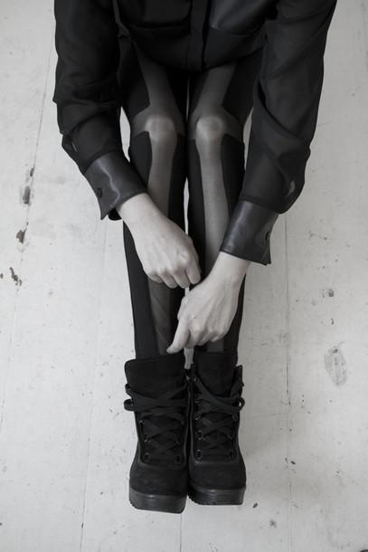 shoes girl division black cross leggings sneakers laces platform shoes grey combat boots pants