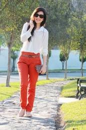pants,orange,blouse,white,flats,sunglasses,spring,summer,leopard print