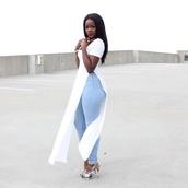 shirt,blue jean pants,long cut out sides shirt,white long shirt,long skirt,white maxi dress