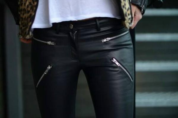 pants fermeture eclair cuir black