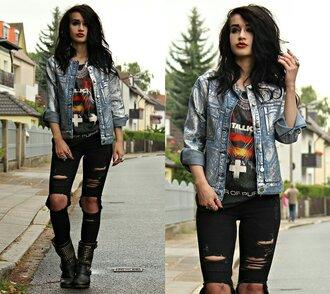 jacket denim denim jacket holographic holographic jacket grunge metallic shirt