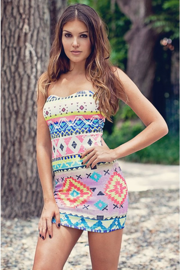 dress ustrendy dress ustrendy strapless dress strapless aztec tribal pattern aztec summer dress ootd fashion bodycon bodycon dress