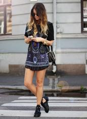 dress,patterned dress,indie,purple,black dress,shoes,black,boots,straps,tumblr,cute,girl,black shoes,summer shoes,print,blouse