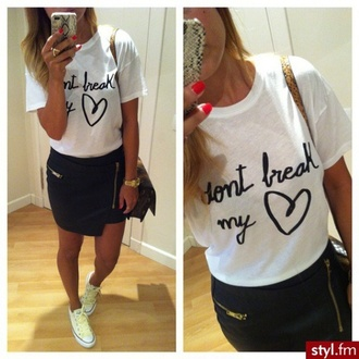 skirt t-shirt printed tee hipster hippie casual white t-shirt dont break my heart black print quote on it