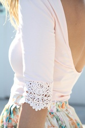 shirt,lace,white,low back,cute,lowscoopback,blouse,pink,long sleeves,clothes,boho,girly,scoop back,open back,cream,cream shirt,eyelet shirt,low back blouse,low back shirt,scoop back shirt,floral skirt,floral white skirt,white floral skirt with flowers,peach shirt,quarter sleeve,peach lingerie,top,spring,summer,pretty,beautiful,3/4 sleeves,skirt