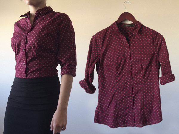blouse hipster top t-shirt t-shirt button down button up burgundy career casual dressy sophisticated the limited office outfits