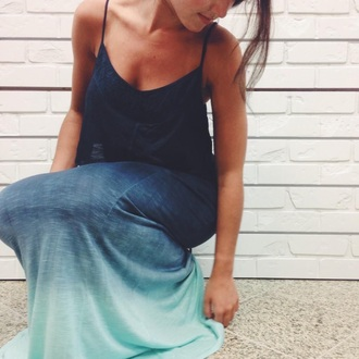 dress blue ombre maxi dress