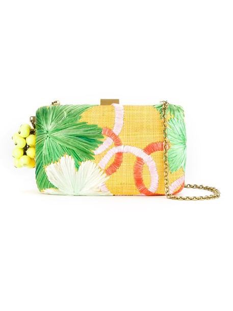 Serpui embroidered clutch yellow orange bag