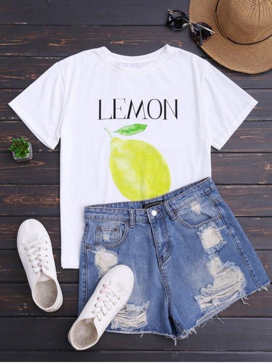 Lemon Print Short Sleeve T-Shirt