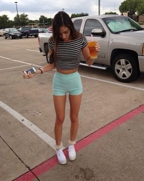 shorts, crop tops, sneakers, white, light blue, dress ...