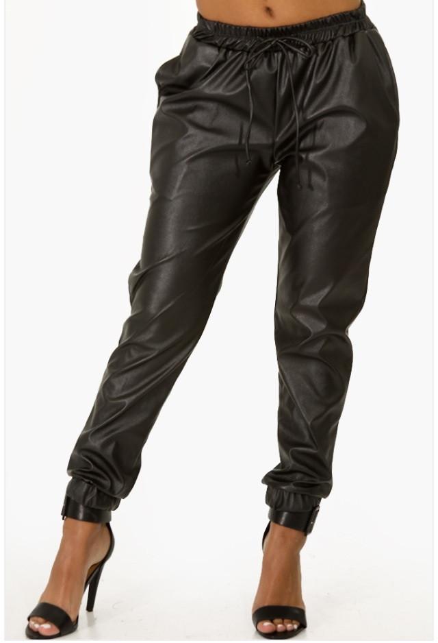 Black Faux Leather Jogger