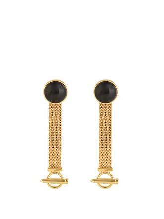 mesh earrings gold black jewels