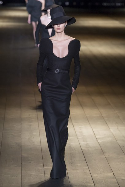 dress black dress maxi dress saint laurent plunge v neck plunge dress runway model paris fashion week 2018 fashion week all black everything