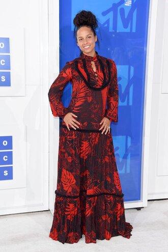 dress mtv vma alicia keys gown maxi dress floral maxi dress long dress red dress long sleeves long sleeve dress celebrity style celebrity