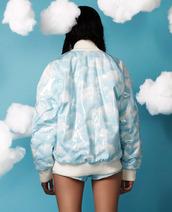 jacket,clouds,bomber jacket,pale,nature,sky,blue