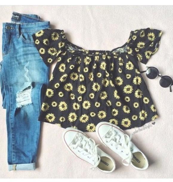 shirt crop tops daisy