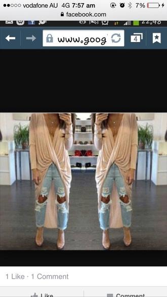 shirt cream lowcut top