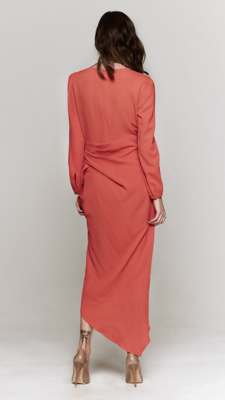 Carven Crepe Cutout Dress In Orange | The Dreslyn