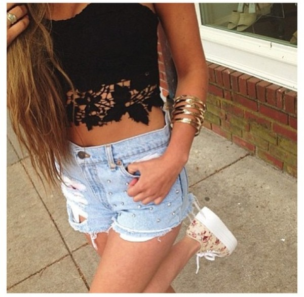 shirt lace shorts distressed shorts bangle gold black pretty cute fashion shoes blouse top midriff denim crop tops High waisted shorts top strapless