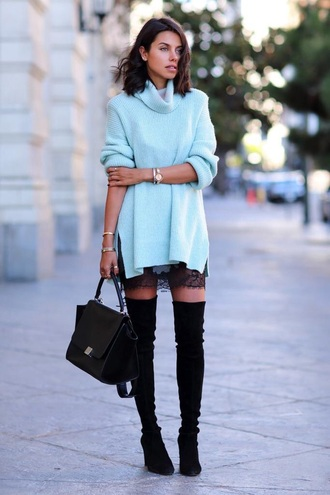 t-shirt blue fashion blue sweater winter outfits knitted sweater