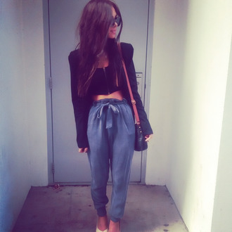 pants blue blazer black blazer heels blue pants black dress blue harem pants blouse jacket oasap clothes tumblr girly shirt navy bow cute high waisted crop tops bag sunnies denim