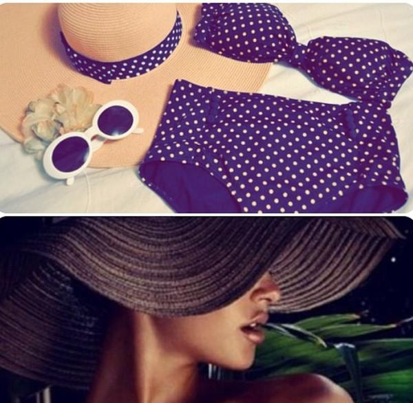 swimwear navy brown dots bandeau bikini high waisted
