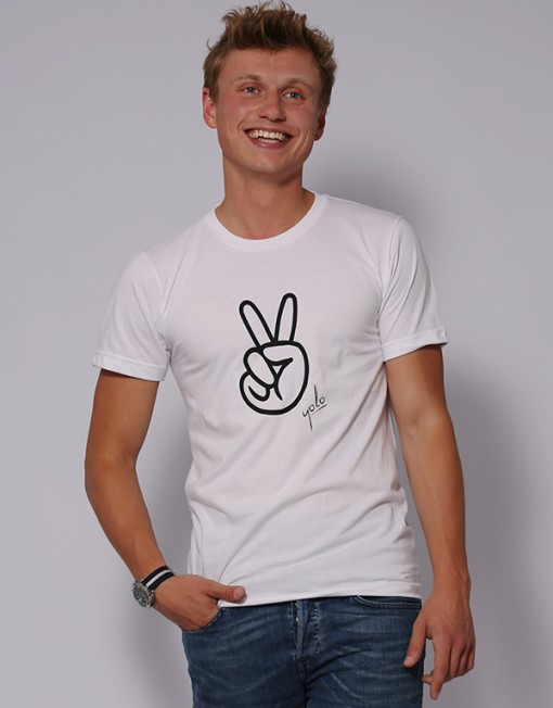 Peace Originals T-Shirt Unisex White / black   YOLO Originals
