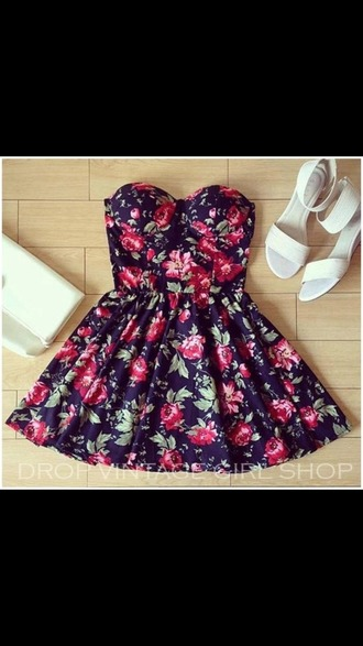 dress floral cute girly fashion red black