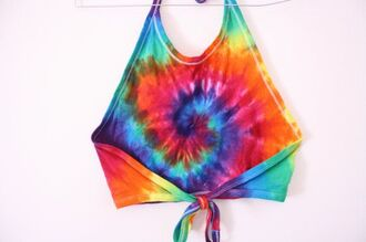 top rainbow crop top carnival top hippie halter crop top shirt tie dye blouse