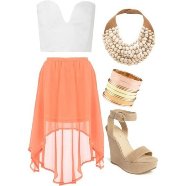skirt orange skirt white top strapless cute orange white tumblr asymmetrical skirt tank top shirt crop tops sweetheart neckline plunge v neck bralette tube top high low skirt coral flowy sheer bold necklace tan wedges jewels shoes chiffon skirt beige nude wedge white tank top jewelry