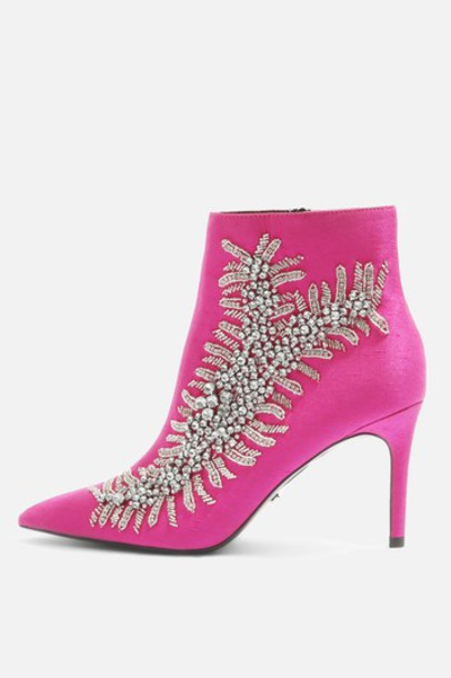 high embellished ankle boots pink shoes